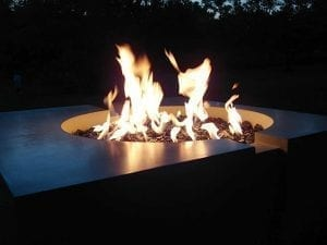 concrete fire pit Crater night burning small