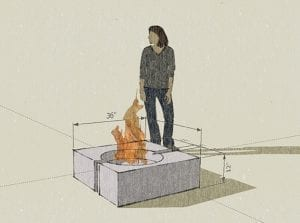concrete fire pit crater rendering