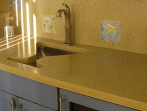 concrete countertop with martini glass shaped sink