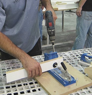 pre-drilling pocket hole for screw