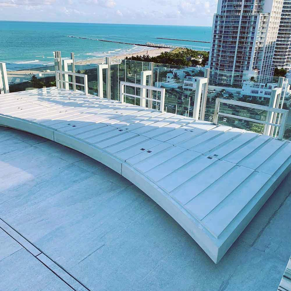 concrete couch sofa base on high rise rooftop Florida