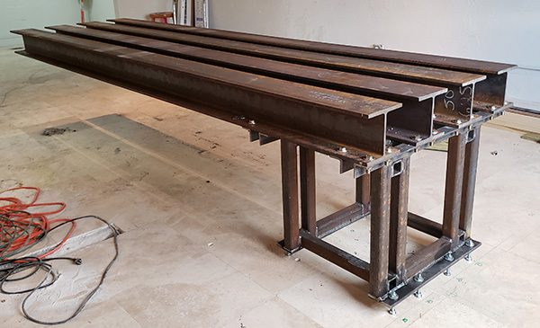 completed steel support for cantilevered concrete table