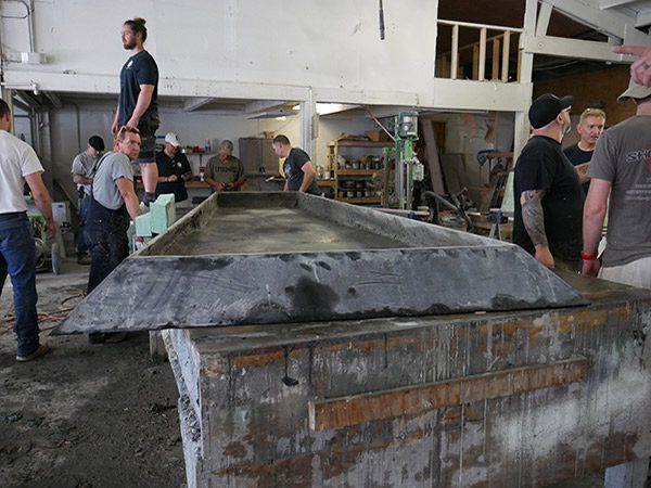 large concrete table top on casting table
