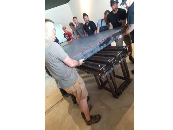 installing concrete table top on steel support legs