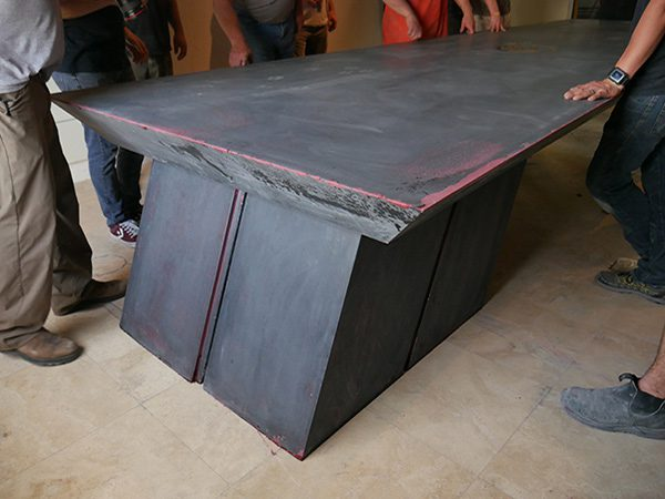 closeup of base of concrete conference table 11 foot floating cantilever