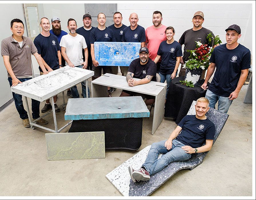 Concrete Countertop training course sinks lounge chair