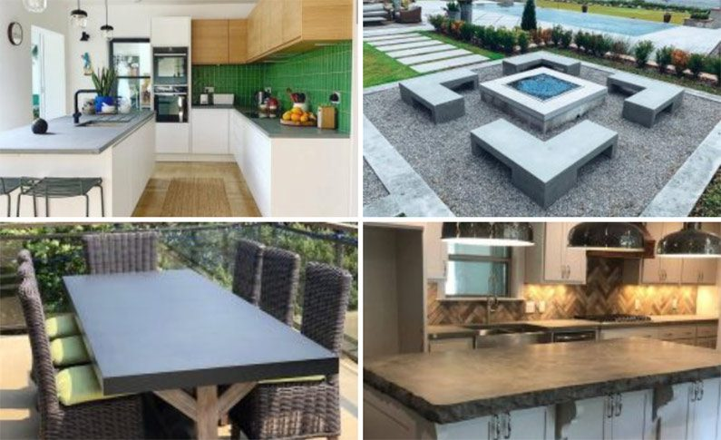collage of concrete countertop projects