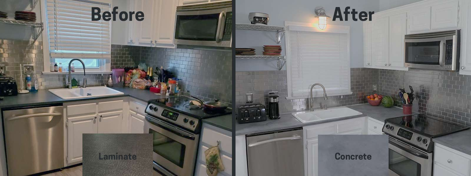 before after concrete countertop paint gray white kitchen