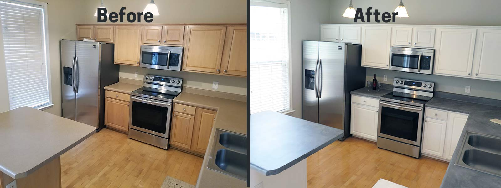 concrete countertop paint before after